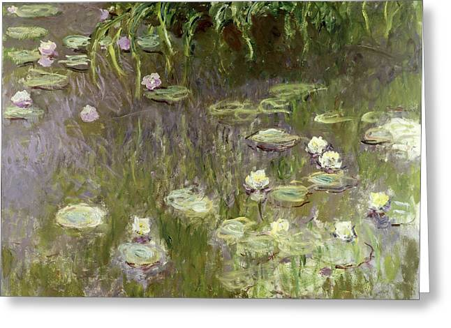 Lights Reflecting On Water Greeting Cards - Waterlilies at Midday Greeting Card by Claude Monet