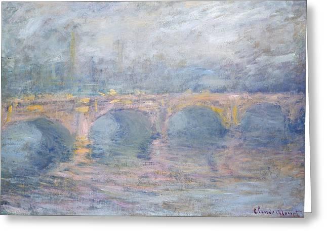 Mist Paintings Greeting Cards - Waterloo Bridge London at Sunset Greeting Card by Claude Monet