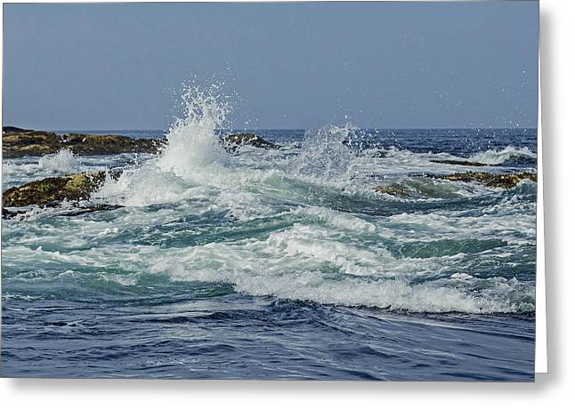 New England Ocean Greeting Cards - Waves crashing Greeting Card by Elaine Somers