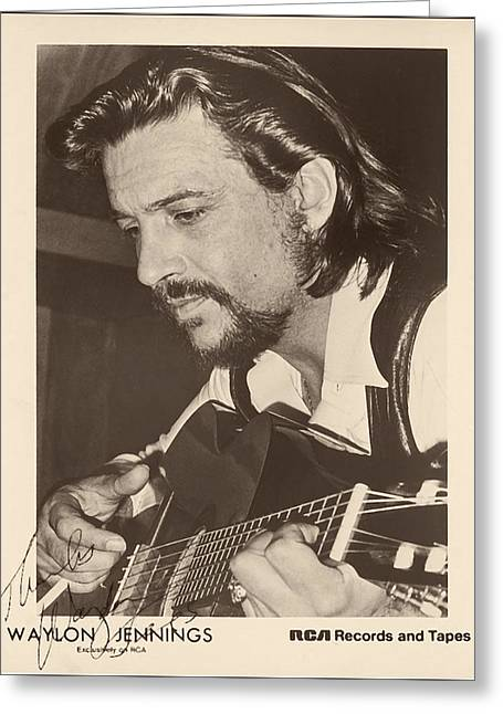 Recently Sold -  - Old Western Photos Greeting Cards - Waylon Jennings 1971 Signed Greeting Card by Rca