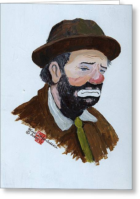 Emmett Kelly Greeting Cards - Weary Willie the Clown Greeting Card by Arlene  Wright-Correll