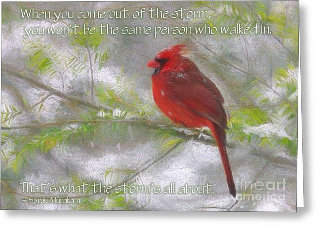 Winter Storm Greeting Cards - Weathering the Storm Greeting Card by Jayne Carney