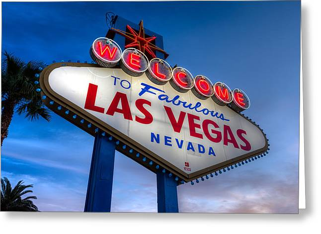 Wager Greeting Cards - Welcome To Las Vegas Greeting Card by Steve Gadomski
