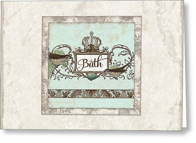 Robin Greeting Cards - Welcome to our Nest - Bath Vintage Birds w Crown Greeting Card by Audrey Jeanne Roberts