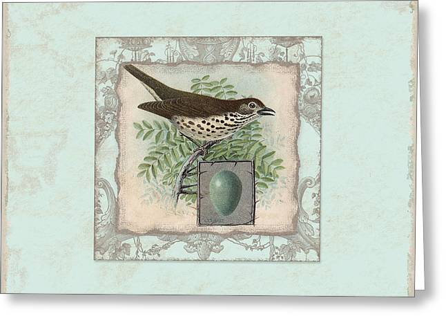 Flourished Greeting Cards - Welcome to our Nest - Vintage Bird w Egg Greeting Card by Audrey Jeanne Roberts