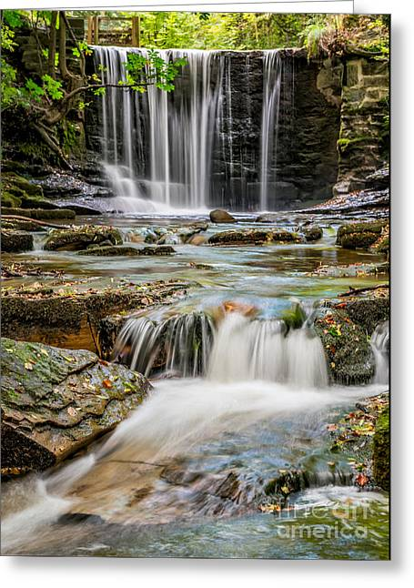 Water Mill Greeting Cards - Welsh Waterfall Greeting Card by Adrian Evans