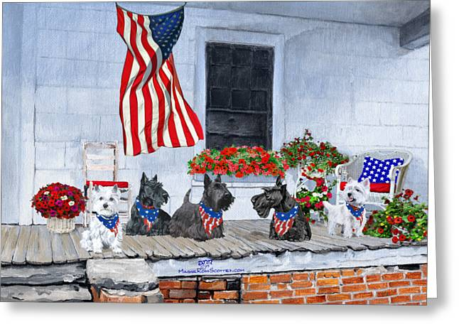 Westies And Scotties Await The Big Parade Greeting Card by Ann Kallal