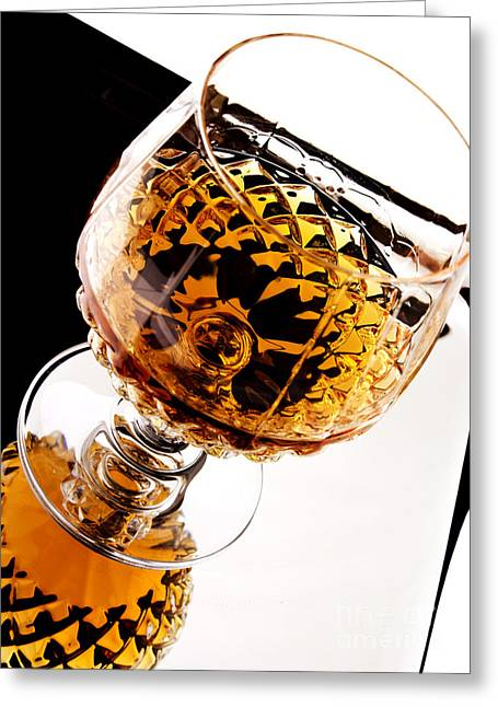 Cognac Greeting Cards - Whiskey in glass Greeting Card by Blink Images