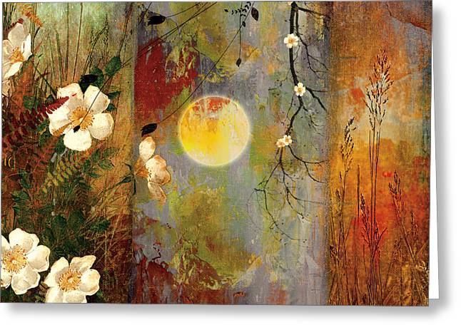 Cherry Blossoms Paintings Greeting Cards - Whisper Forest Moon II Greeting Card by Mindy Sommers