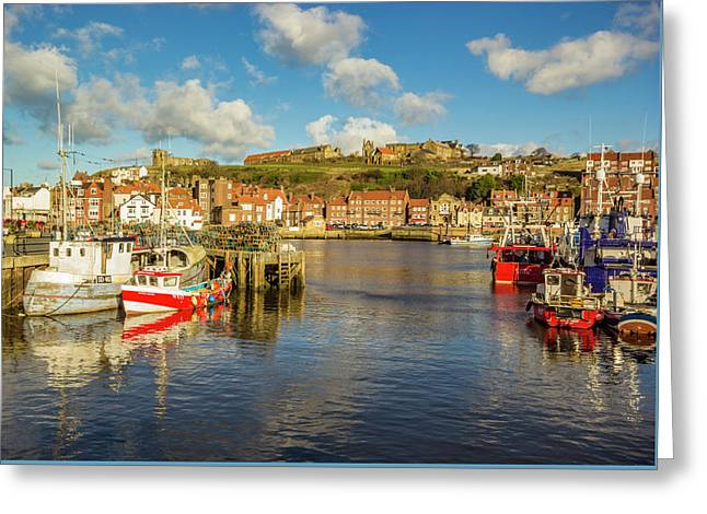Whitby Harbour Greeting Card by Keith Sayer