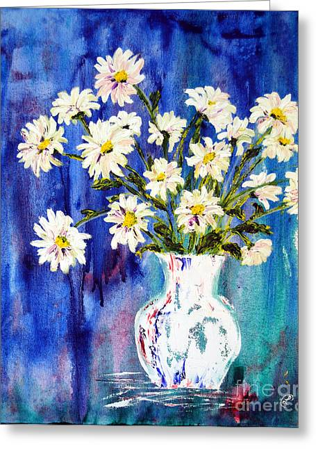 Vase Greeting Cards - White Daisies Greeting Card by Lynda Cookson