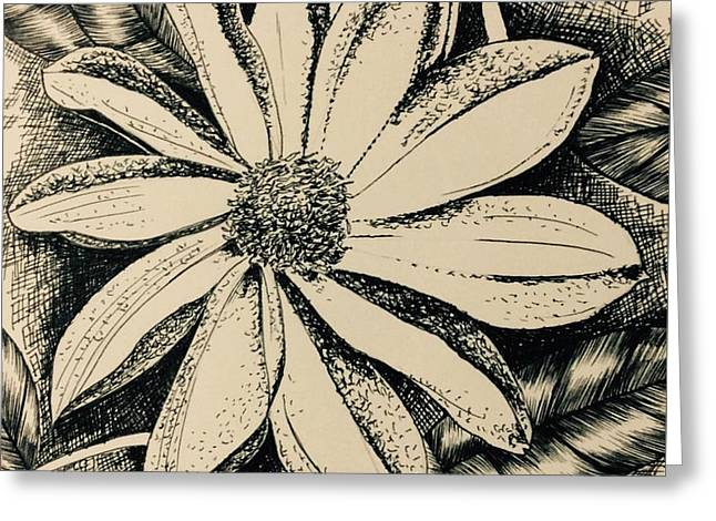 Pen Greeting Cards - White flower Greeting Card by Pushpa Sharma