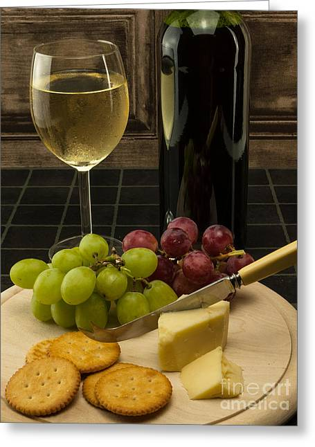 Red Wine Bottle Greeting Cards - White Wine And Grapes Greeting Card by F Helm
