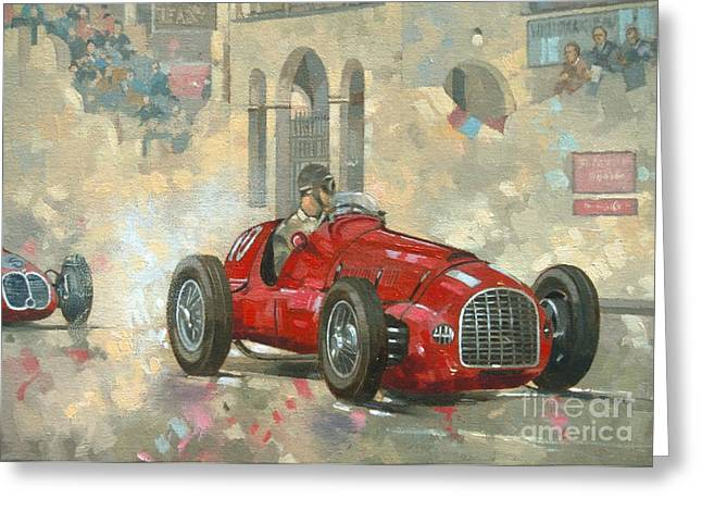 Vintage Cars Greeting Cards - Whiteheads Ferrari passing the pavillion - Jersey Greeting Card by Peter Miller