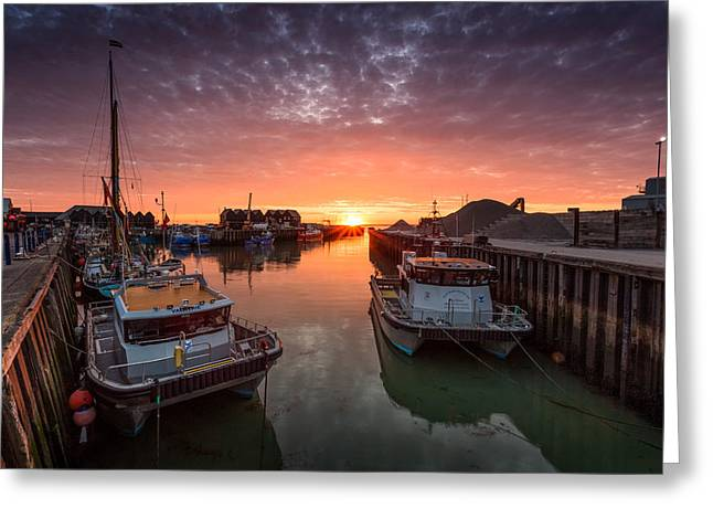 Fishing Boat Sunset Greeting Cards - Whitstable Sunset Greeting Card by Ian Hufton