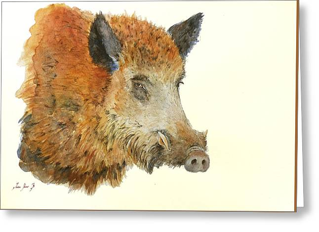 Boars Greeting Cards - Wild boar watercolor painting Greeting Card by Juan  Bosco