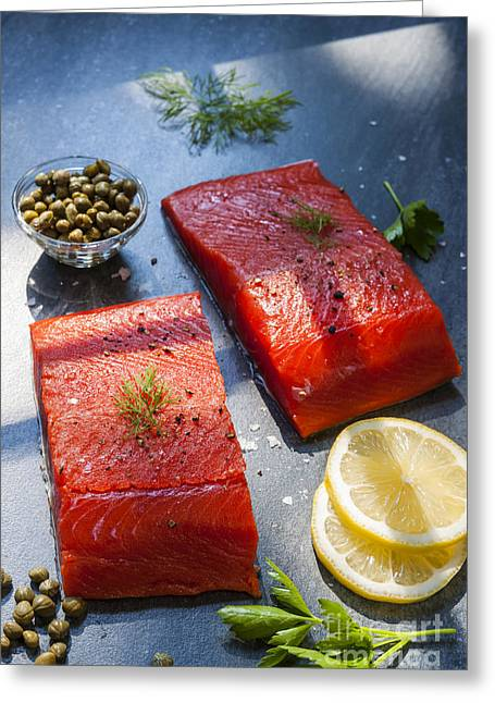 Wild Salmon Steaks Greeting Card by Elena Elisseeva