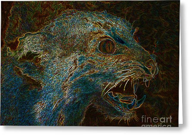Growling Digital Greeting Cards - Wildcat Greeting Card by David Lee Thompson