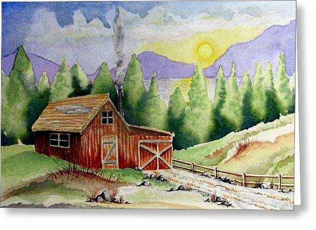 Mountain Cabin Drawings Greeting Cards - Wilderness Cabin Greeting Card by Jimmy Smith
