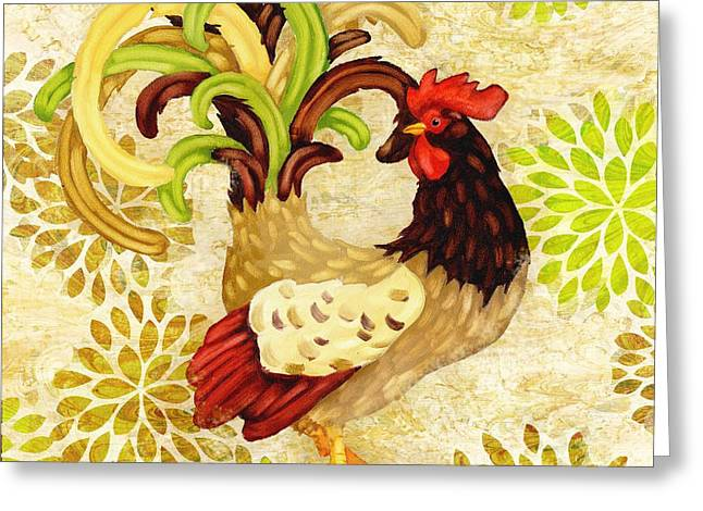 Orange Wildflower Greeting Cards - Wildflower Rooster I Greeting Card by Paul Brent