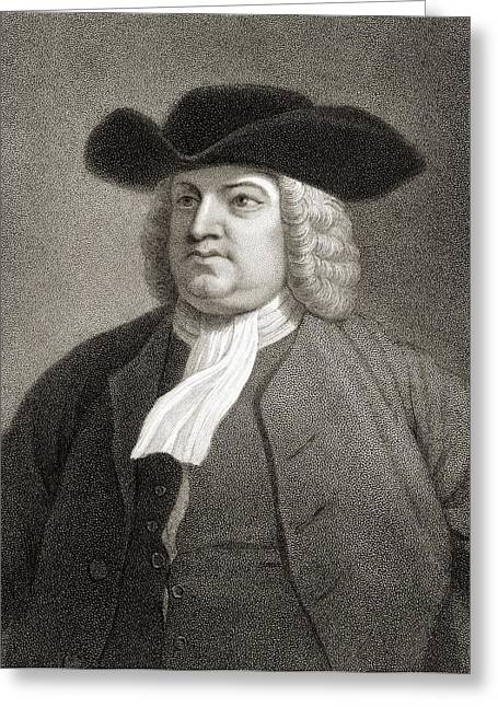 Quaker Greeting Cards - William Penn 1644-1718. English Quaker Greeting Card by Vintage Design Pics