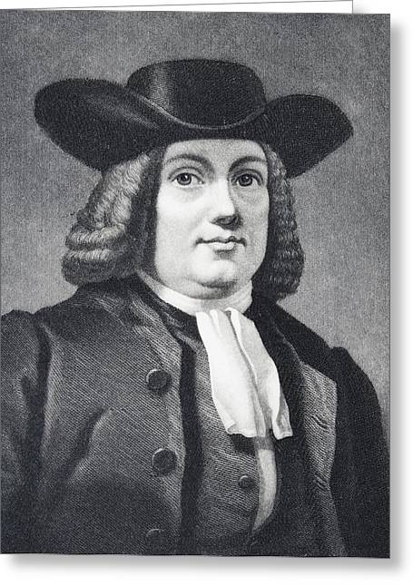 Quaker Greeting Cards - William Penn 1644 To 1718 English Greeting Card by Vintage Design Pics