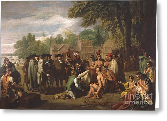 William Penns Treaty With The Indians Greeting Card by Science Source