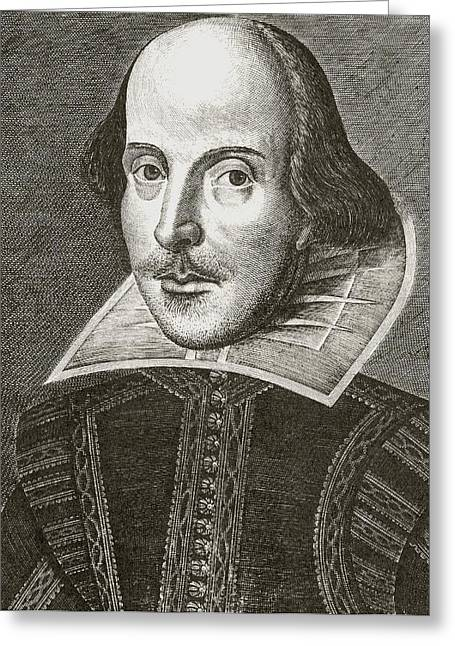 1st Edition Greeting Cards - William Shakespeare 1564 - 1616 Greeting Card by Vintage Design Pics