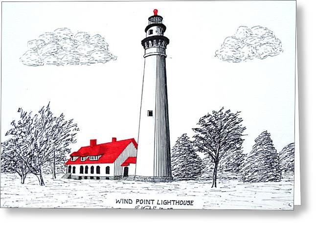 Wind Point Lighthouse Greeting Card by Frederic Kohli