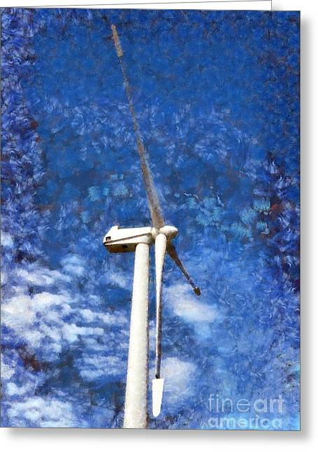 Wind Turbine Greeting Card by George Atsametakis