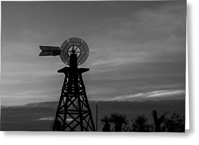 Farm Structure Greeting Cards - Windmill Sunset Greeting Card by Mountain Dreams