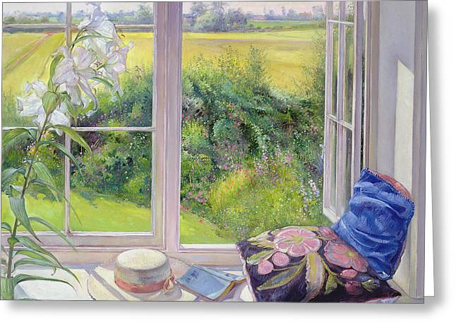 Sun Hat Greeting Cards - Window Seat and Lily Greeting Card by Timothy Easton