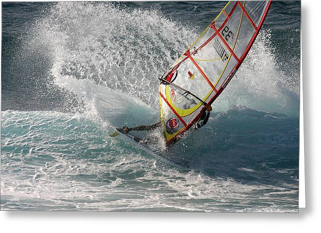 Windsurfer Greeting Cards - Windsurfer in big waves Hookipa Maui Hawaii Greeting Card by Pierre Leclerc Photography