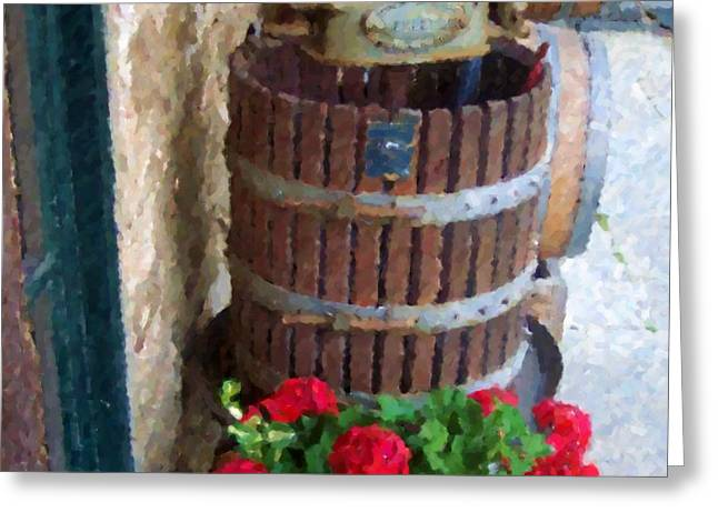 Wine And Geraniums Greeting Card by Debbi Granruth