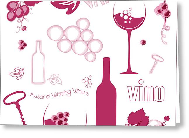 Wine Background Pattern Greeting Card by Serena King