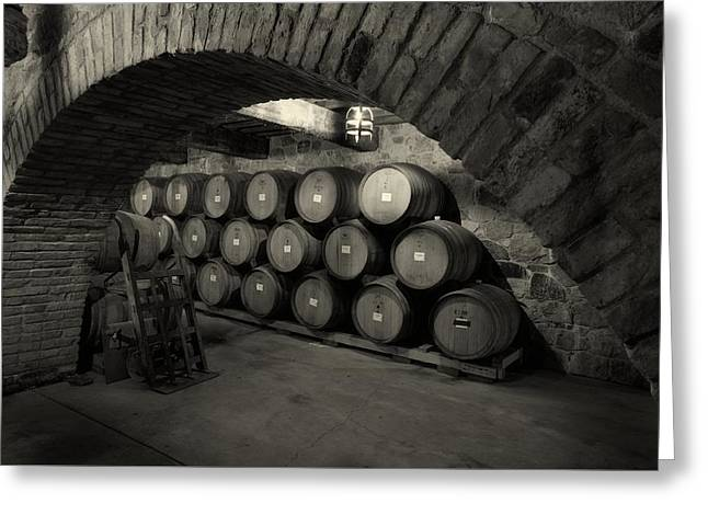Italian Wine Greeting Cards - Wine Barrels Greeting Card by Mountain Dreams