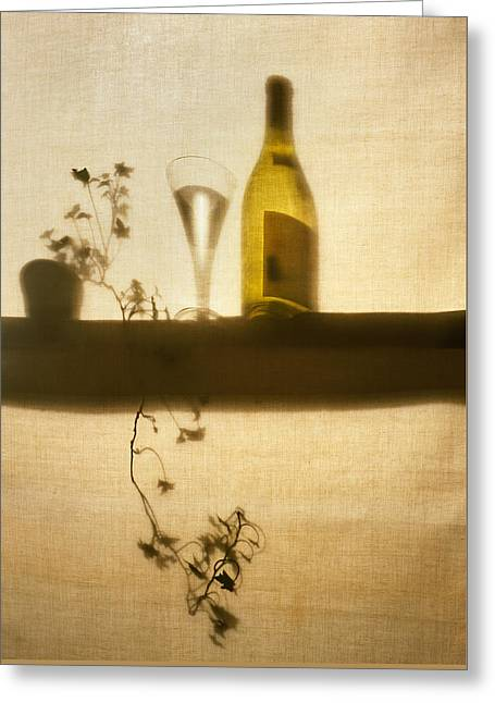 Wine-glass Greeting Cards - Wine Bottle and Glass Greeting Card by Robert Wilson