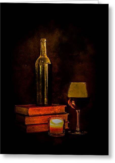 Red Wine By Candlelight Greeting Card by Erin Cadigan