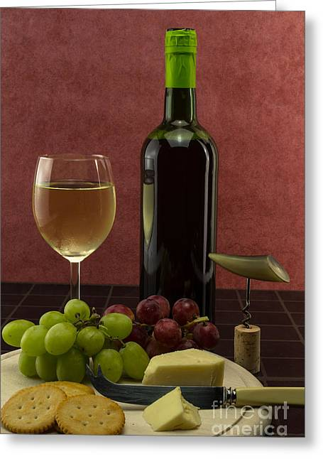 Red Wine Bottle Greeting Cards - Wine cheese and grapes Greeting Card by F Helm