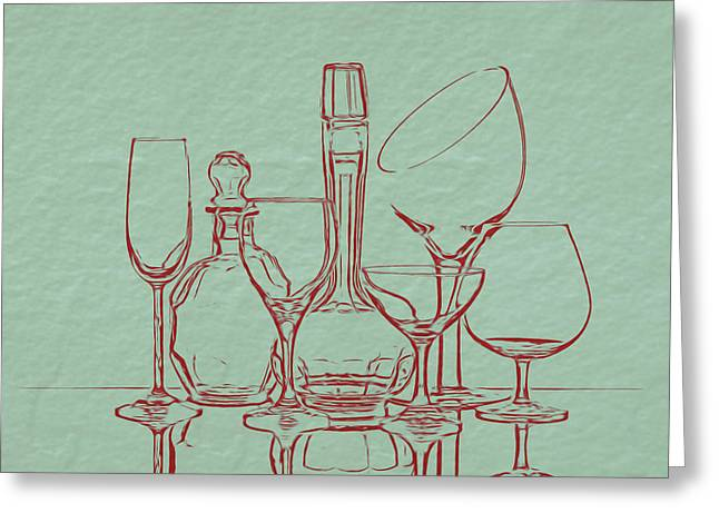 Wine Decanters With Glasses Greeting Card by Tom Mc Nemar