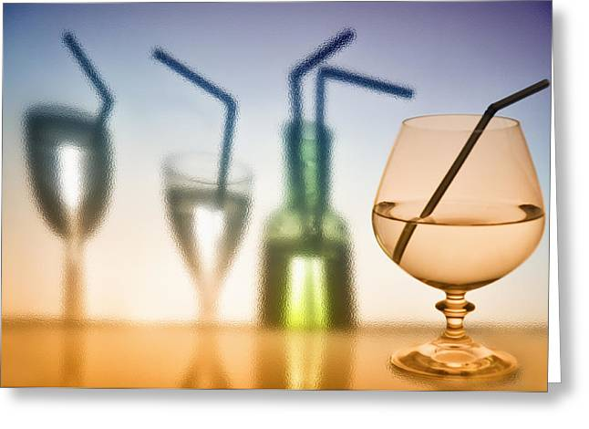Colorful Photos Glass Art Greeting Cards - Wine glasses   with wine. Greeting Card by   larisa Fedotova