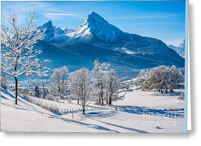 Swiss Photographs Greeting Cards - Winter Beauty in Snowy Bavarian Alps Greeting Card by JR Photography