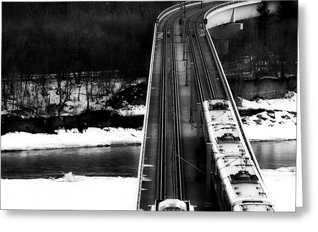 Snowy Stream Greeting Cards - Winter Commute - Edmonton Greeting Card by Redd Angelo