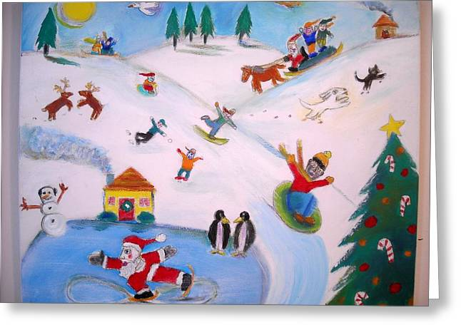 Winter Landscape With Animals Greeting Cards - Winter Fun Greeting Card by Ward Smith