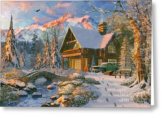 Winter Holiday Cabin Greeting Card by Dominic Davison