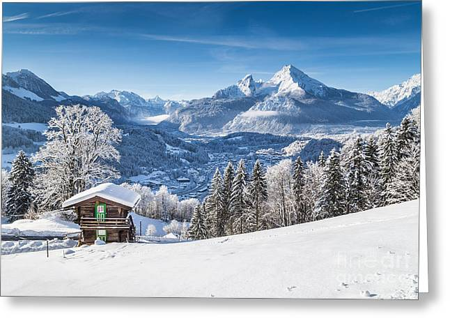 Sun Peaks Resort Greeting Cards - Winter in the Alps Greeting Card by JR Photography