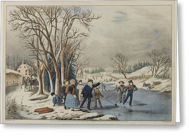 Winter Pastime Greeting Card by Nathaniel Currier