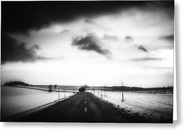 Snow-covered Landscape Greeting Cards - Wintry Sunset Drive Greeting Card by Foundry Co