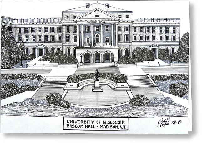 College Campus Buildings Drawings Greeting Cards - Wisconsin Greeting Card by Frederic Kohli
