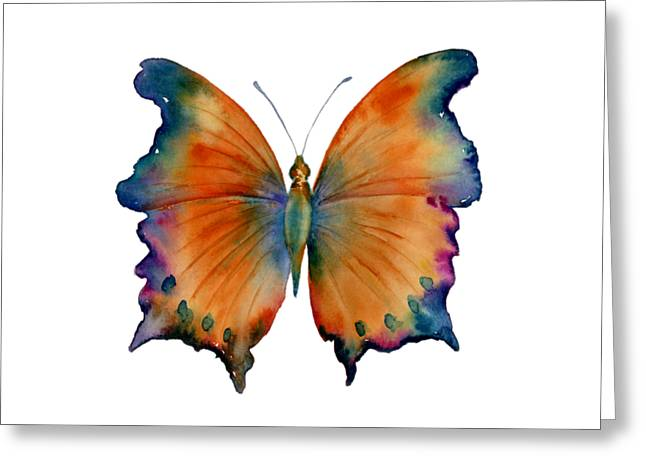 Orange Greeting Card featuring the painting 1 Wizard Butterfly by Amy Kirkpatrick